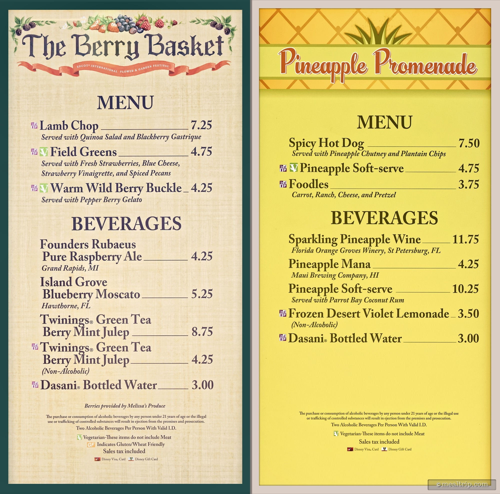 Menu boards and prices for 2017 food booths epcot flower for Gardening rates per hour 2018