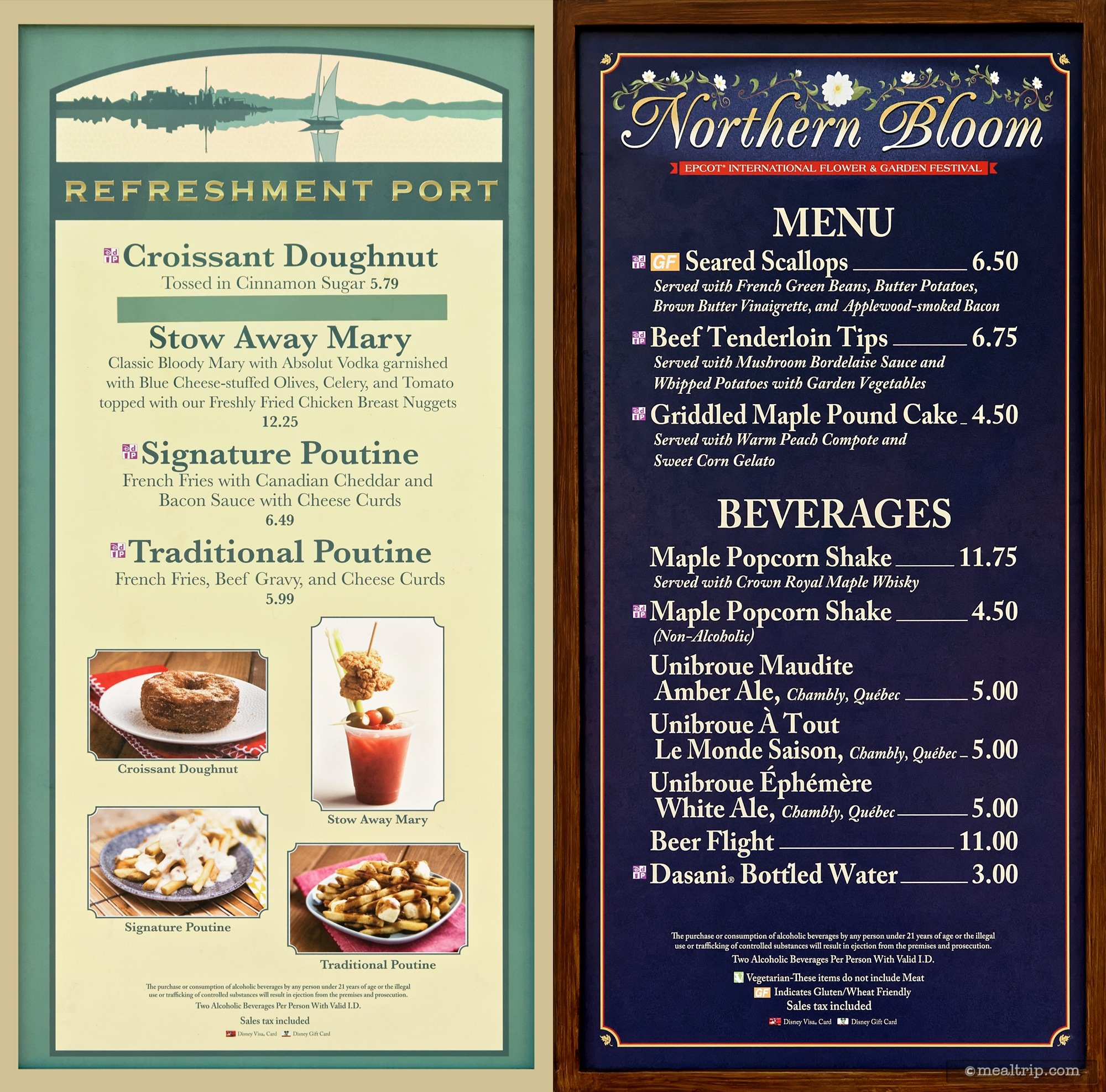 menu boards and prices for 2018 food booths - epcot flower & garden